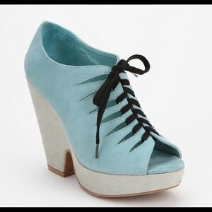 Urban Outfitters Deena & Ozzy Blue Suede Platforms